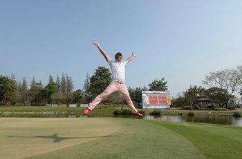 Anikori Tani of Japan celebrates securing his 2014 Asian Tour Card.