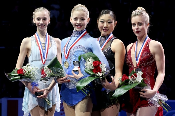 Gold (second from left) Wagner pose on the medals podium after the ladies competition at the Prudential US Figure Skating Championships in Boston last month. AFPpic
