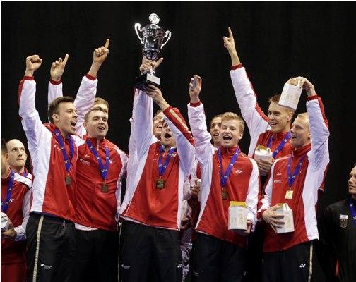 Denmark celebrate their 2014 European Men's and Women's Team Championships.