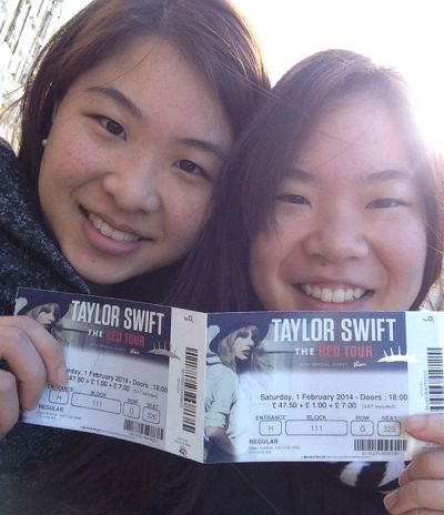 CNY JOY. Ng Hui Ern (left) and Hui Lin showing off their Taylor Swift concert tickets.