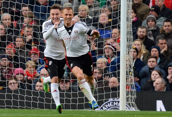 THAT-SID. Fulham's Steve Sidwell celebrates after scoring the opener against Manchester United/AFP pic.
