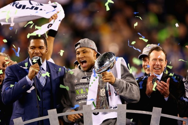 Super Bowl MVP Malcolm Smith #53 of the Seattle Seahawks holds the Vince Lombardi Trophy after winning Super Bowl XLVII/AFP pic.